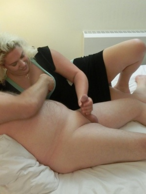 Busty older blonde Barby engages in oral sex with her husband on their bed 29438563