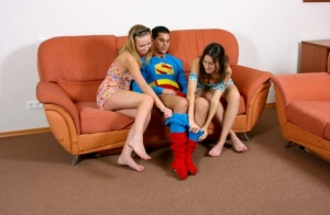 Young girls Kenia H and Brigitta F get jizz on their faces thanks to Superman