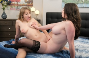 Teen girls Alyx Star and Angel Youngs get naked prior to having lesbian sex