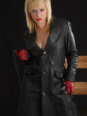 Sexy blonde Axa Jay exposes her tits and twat in a leather coat and gloves 28534121