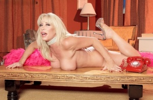 Sexy blonde Jenna Lynn removes sheer lingerie while talking on a retro phone 33534869