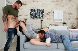 Sexy brunette Abbie Maley partakes in a hardcore threesome with bisexual men