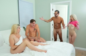 Closely related family members partake in a taboo four-way fuck