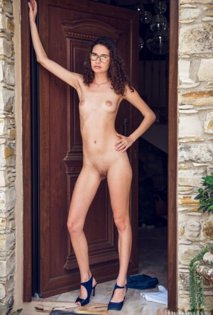 Nerdy girl Cristin removes her glasses and clothes after upskirt action