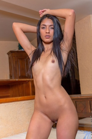 Latina college girl Diana Ferreira touches her twat after getting bare naked
