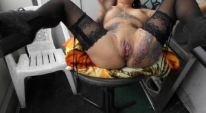 Tattooed chick Bodo gets banged in stockings and chunky heels