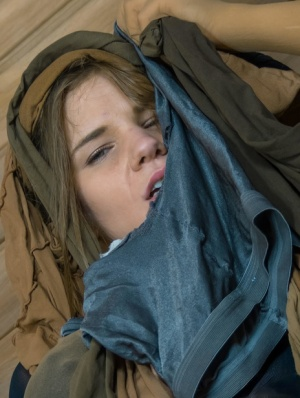 Beautiful girl Sarah Kay sports a long strapon cock while covered in pantyhose 18731817