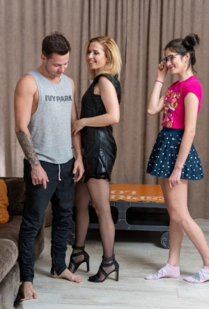Younger couple experiences their first threesome with a teen girl