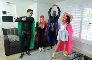 Closely related family members have a foursome in cosplay clothing 89400239