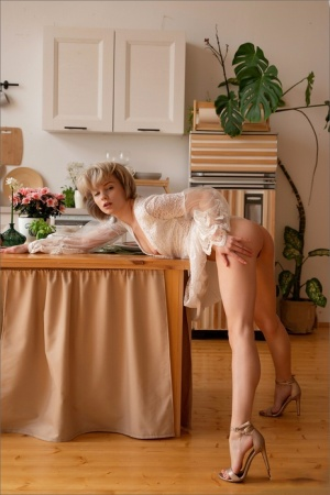 Adorable blonde hits upon great nude poses while in her kitchen