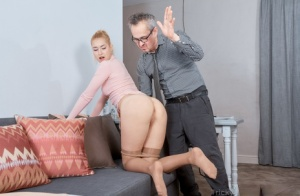 Blonde student gets spanked after being tricked into sex by her old teacher