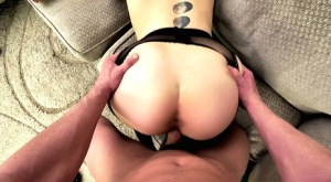 Tattooed girl Anna Claire wears crotchless pantyhose during an intense fuck