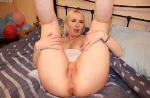 Middle-aged blonde from the UK Tracey Lain has sex with a small cock POV style 66609892