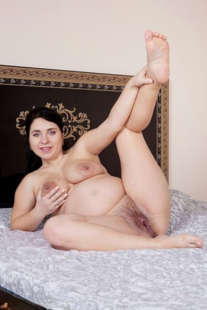 Over 30 pregger Tanita removes red lingerie for her first nude appearance