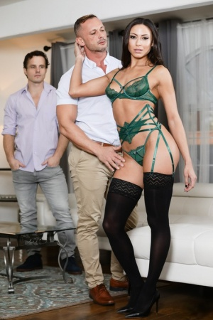 Sexy brunette Cassie Del Isla fucks a man while her cuckold is on the couch 96920472