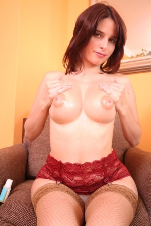 First timer uncups her nice tits prior to sliding her panties aside