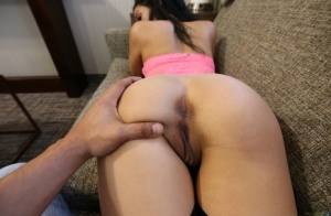 Young brunette Harley Haze engages in POV sex with her black stepbrother