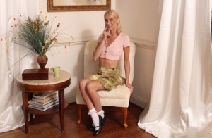 Slim blonde teen Payton Avery fists and spreads her cunt in frilly white socks