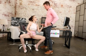 Sexy brunette Raven Right seduces her boss in a miniskirt and heels