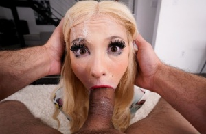 Cute blonde gets jizz on her face during POV mouth fucking action