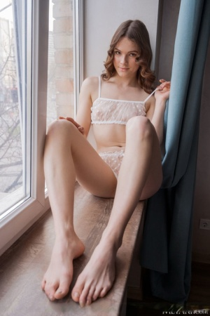 Young solo girl Harley stands naked after removing see-through pretties
