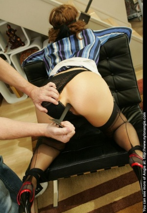 Restrained & blindfolded amateur has a kitchen implement shoved in her asshole 81269334
