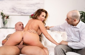 Busty wife Richelle Ryan partakes in hardcore sex in front of her cuckold