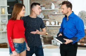 Young redhead Mia Ferrari gets double fucked by her boyfriend  his stepfather