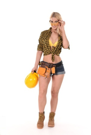 Blonde construction worker Sharon White strips to masturbate with a sex toy
