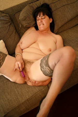 Big titted older UK woman Juicey Janey spreads her snatch after a blowjob