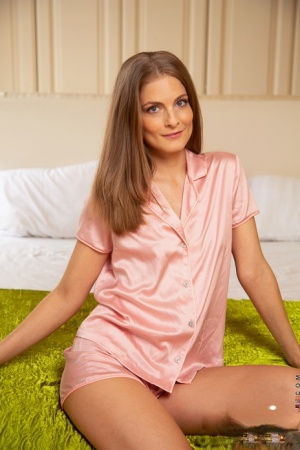First timer Cayenne Klein removes satin pyjamas to get naked in her bedroom