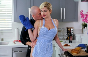 Middle-aged housewife Skye Blue bangs her husband after serving him dinner