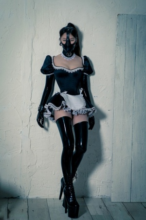Korean model poses for a solo shoot in a naughty rubber maid outfit