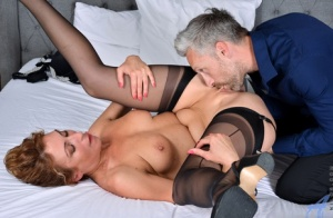 Horny housewife Dafna May seduces her husband in her pretties and nylons