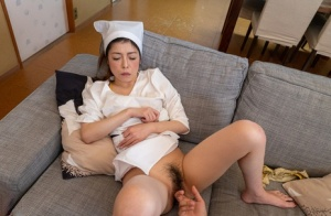 Mature Japanese maid oozes cum from her beaver after sexual intercourse