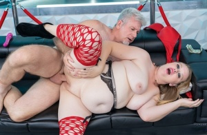Blonde BBW Shayla Pink engages in hardcore sex with an old man for money