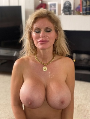 Busty blonde Casca Akashova licks the ball sac after getting naked for a BJ