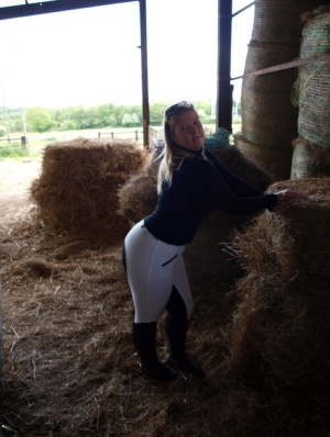 Overweight blonde Samantha exposes herself in a hay room inside of a barn