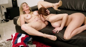 Lesbian girls Brianna Rose  Cory Chase lick pussies during sex on a sofa