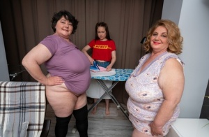 Tiny young girl has a lesbian threesome with fat older women
