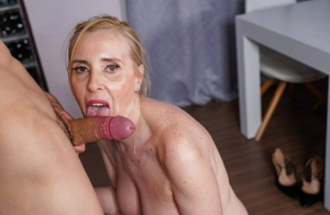 Mature lady seduces a younger boy while he offers roadside assistance