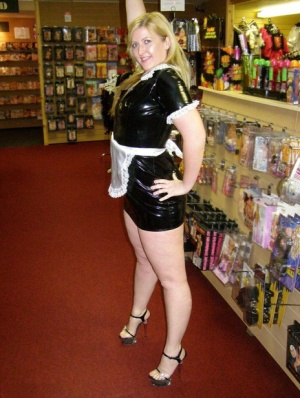 Naughty maid Samantha exposes herself while dusting in an adult sex store