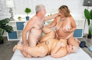 Obese women Mia Cummins  Tiffany Star participate in a 3some with an old guy