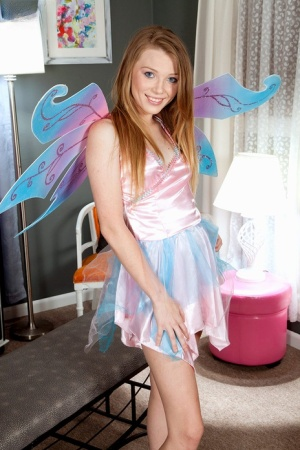 Cosplay girl Alice Upton with puffy nipples  no tits strips to pose naked