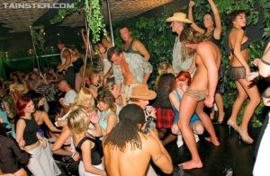 Outdoor dance party devolves into group sex right on the dance floor