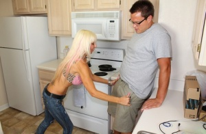 Hot cougar Kasey Storm uncovers her big tits before jerking off her stepson