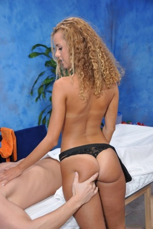 Tiny titted blonde masseuse makes sure her client gets a happy ending
