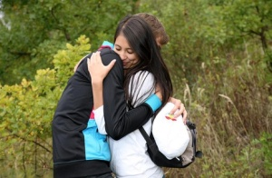 Young brunette bangs a guy she just met on blanket in a field