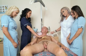 Young nurses pass the night shift by stroking a really old mans cock