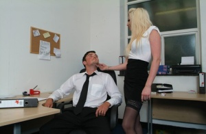 Blonde secretary and fellow female coworkers strips and jerk off their boss